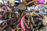 Wild food for sale in the market, Laos